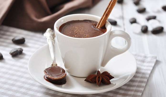 Plant-based milk and cocoa powder make for delicious hot chocolate.
