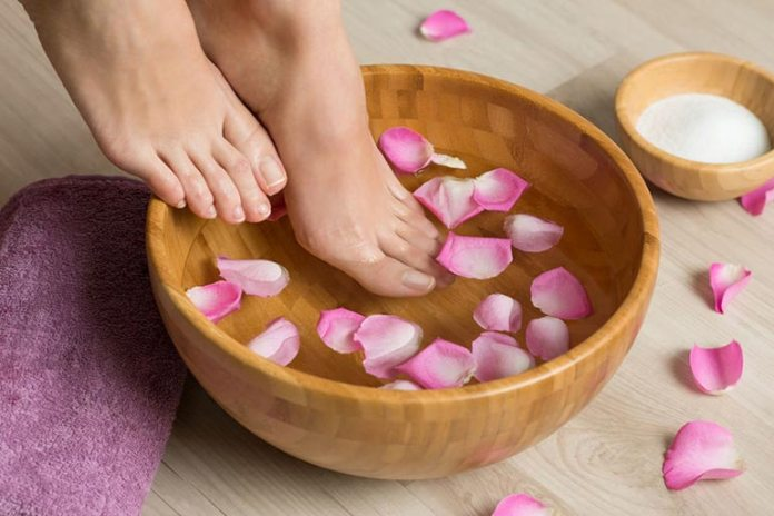 Soaking your feet in cool water helps your body to cool down