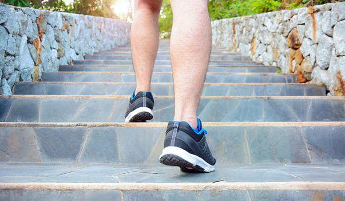 Stair climbing builds lower body strength and improves muscle coordination and heart rate.
