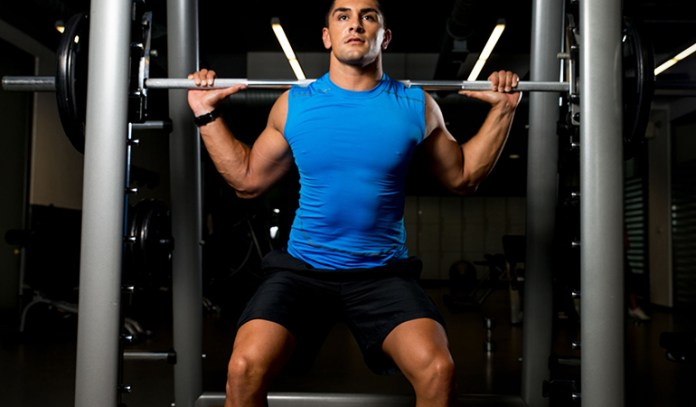 Weighted back squats strengthen lower-body muscles, burn calories, and improve mobility.