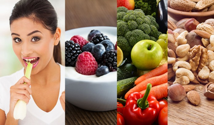 Crunchy foods like celery, probiotic-rich foods like yogurt, and antioxidant-rich fruits, veggies and nuts can promote healthy teeth.