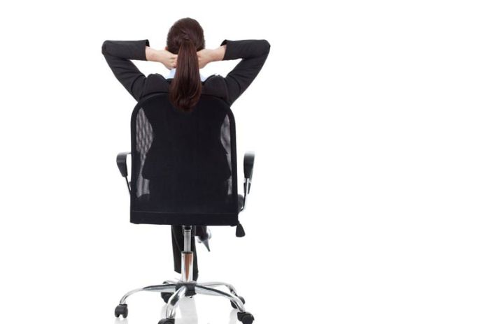 Seated clasping neck stretch helps relieve neck pain