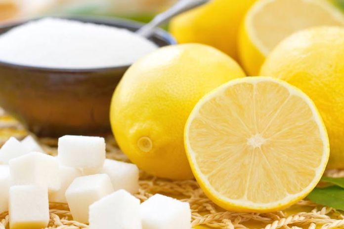 Sugar scrubs away dead skin cells, lemon lightens scars.