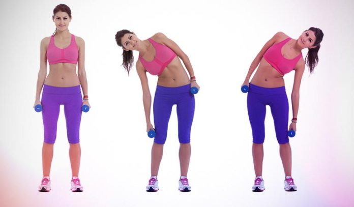 Dumbbell side bends focus on the abdominal muscles in the sides