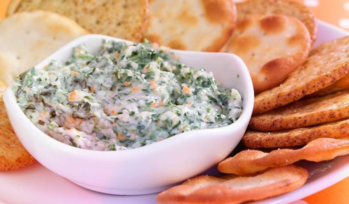 A dip made of yogurt, spinach, and artichokes will fulfill your green requirements.)