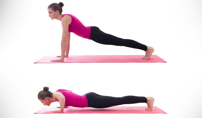 Chaturanga push-up strengthens and tones your triceps