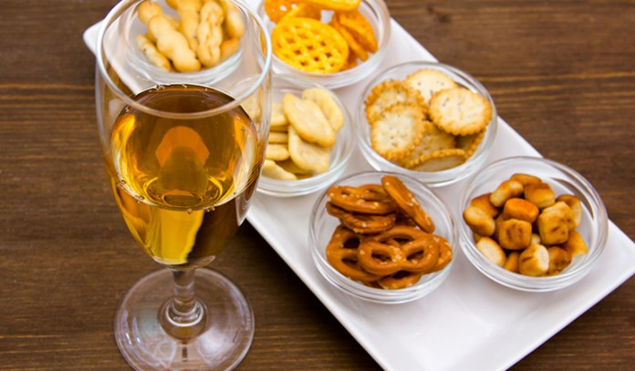 Complimentary bar snacks may have been recycled and touched by contaminated hands.