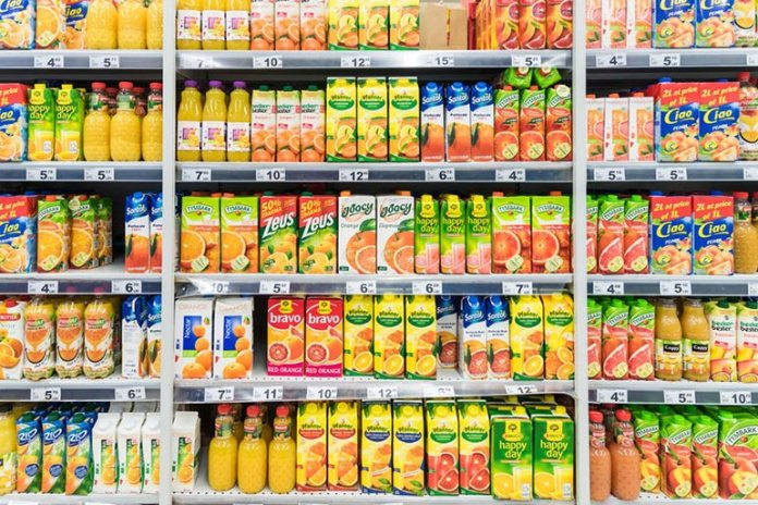 Packaged fruit juice contains high amounts of sucrose and sodium.