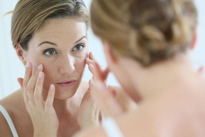 Flushed skin could indicate rosacea, which requires a mild face wash