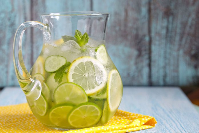Substitute your sugar-laden carbonated drinks with zero-calorie fruit-infused water to cut down on calories.