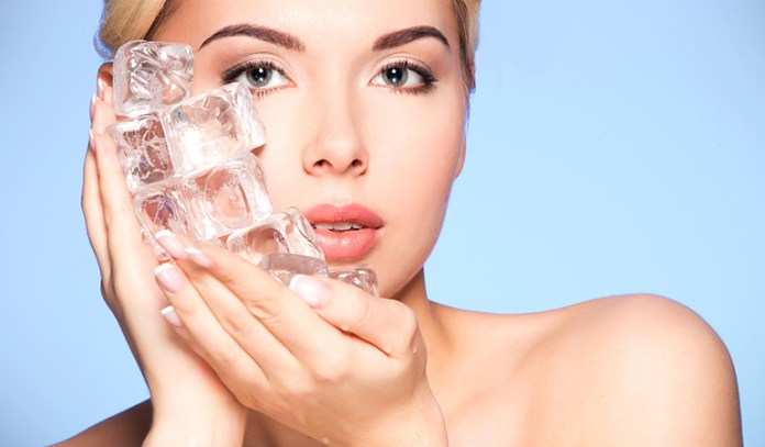 Rub Ice Cubes On Your Face