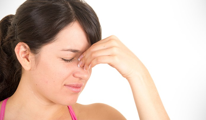 A sinus massage clears up congestion in the nose.