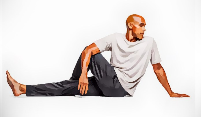 Spinal twist to stretch the spinal column