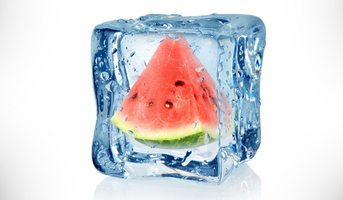 Watermelon and mint ice cubes encourage new skin tissue and collagen formation while tightening the pores.