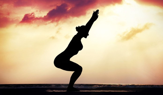 The chair pose strengthens your butt muscles to reduce cellulite.