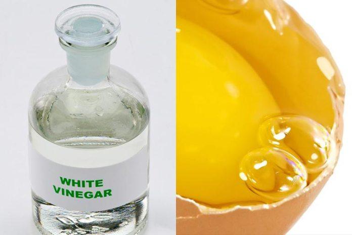 Egg and vinegar promote hair lustre