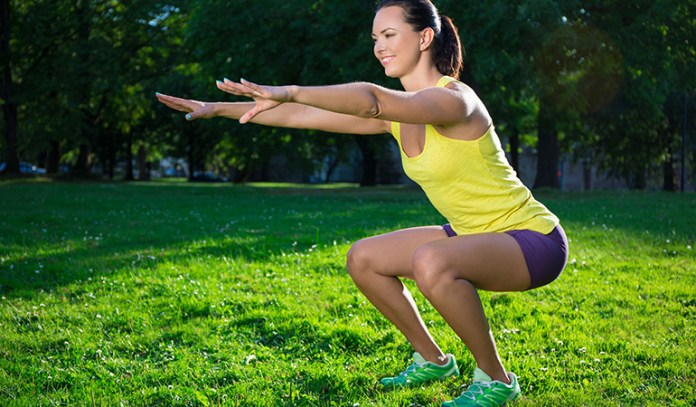 Try squats to burn fat in your thighs and buttocks