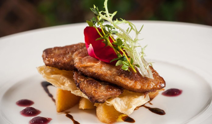 Foie gras is made from geese or ducks that are force-fed through feeding tubes lodged in their throats