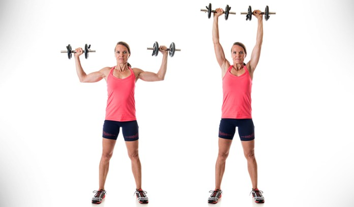 Overhead press strengthens biceps and triceps.