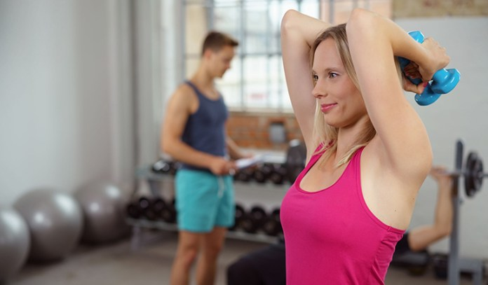 Tricep extensions strengthen arms.