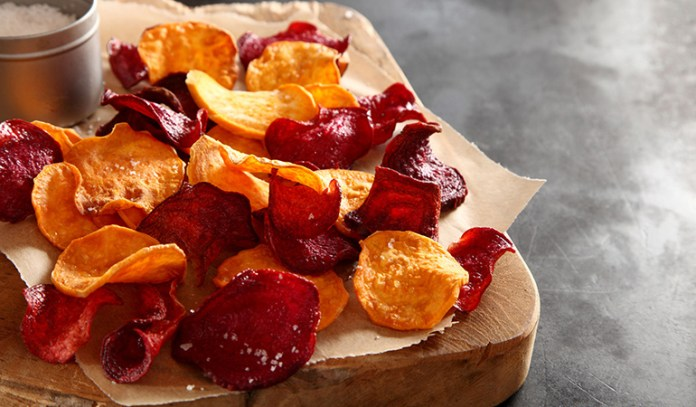 Peel beets, carrots, or turnips to make healthy vegetable chips