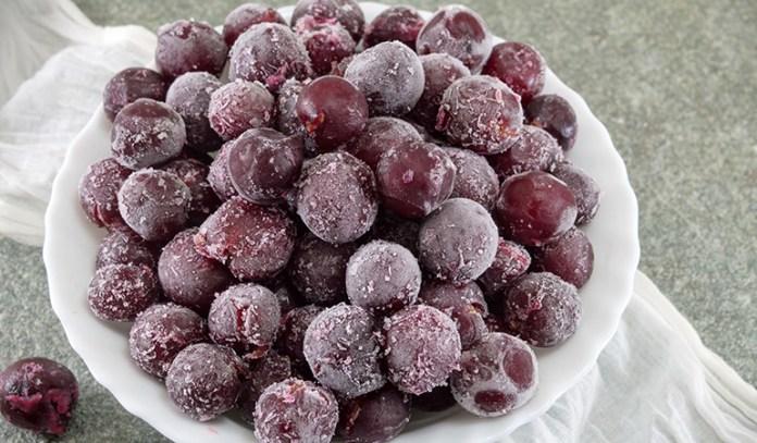 Frozen grapes make for delicious dessert.