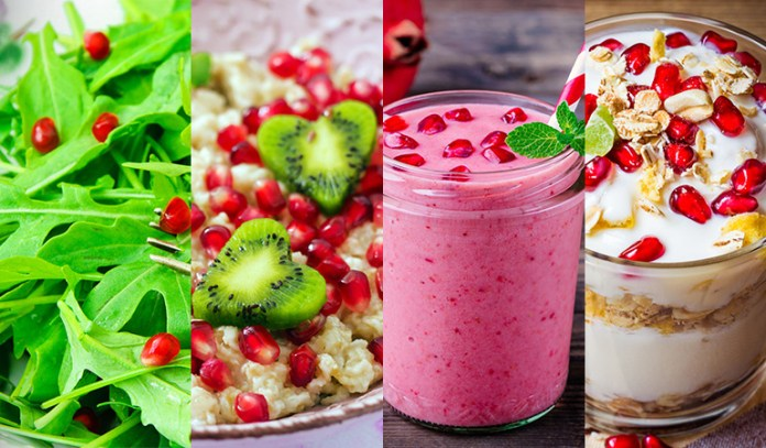 Pomegranates can be included in one's diet through salads, juices, and smoothies.