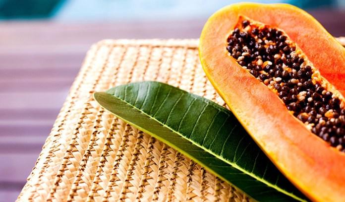 The enzyme papain in papaya has skin-lightening properties