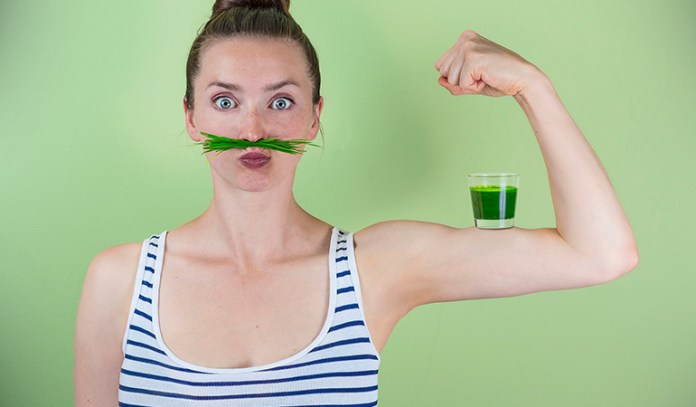 Wheatgrass juice can help supplement but not completely replace fruits and veggies in one's diet.