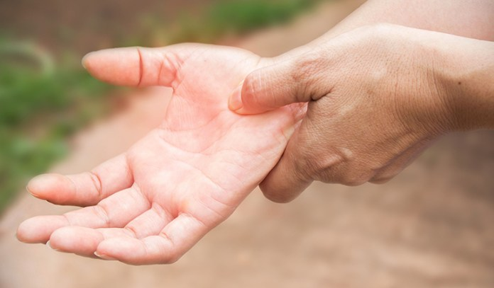 Hand tremors are a rare, but proven symptom of an obstruction of blood supply to the brain.