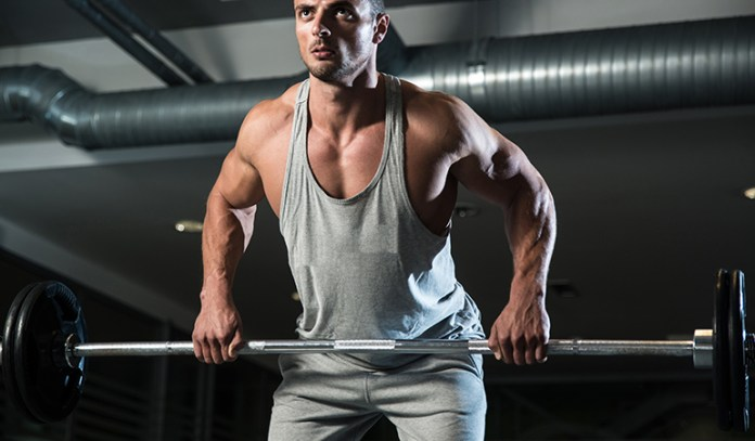 Barbell bent-over row strengthens the back muscles.