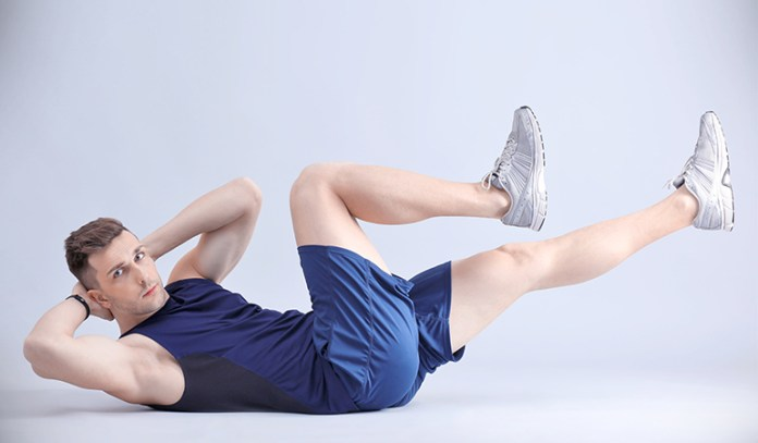 Bicycle maneuver strengthens ab muscles.