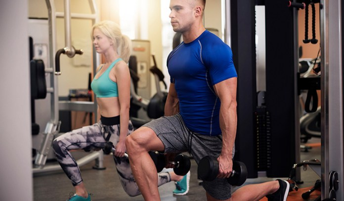Standing lunge strengthens leg muscles.