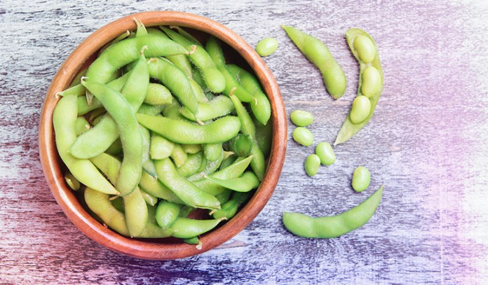Edamame contains 18.46 gm of protein per cup.