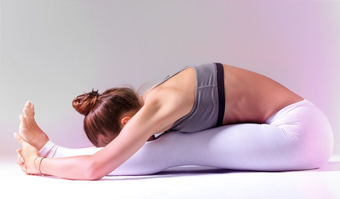 The forward bending pose gives a deep abdominal massage to the intestines and other abdominal organs.