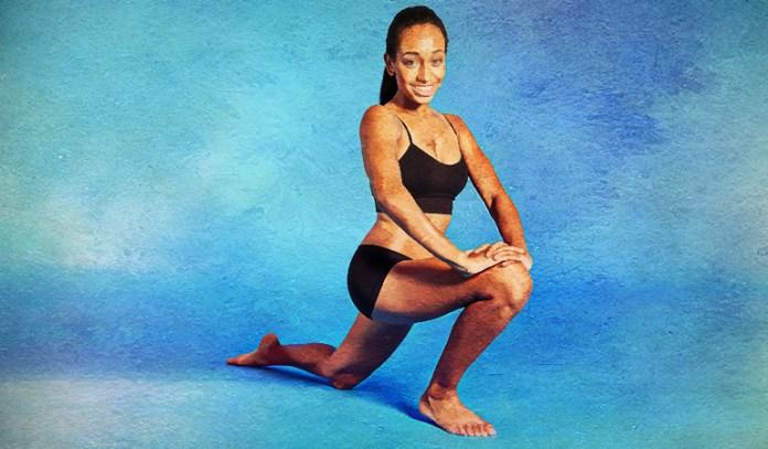 Kneeling hip flexor stretch eases psoas muscle.