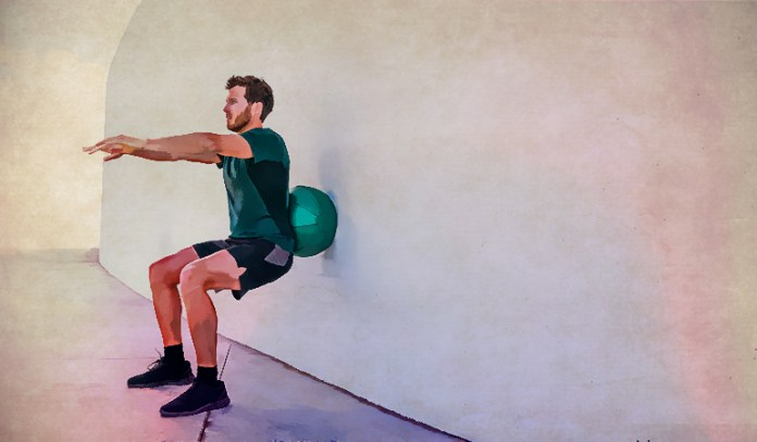 Stability ball wall squats are easy on the knees.