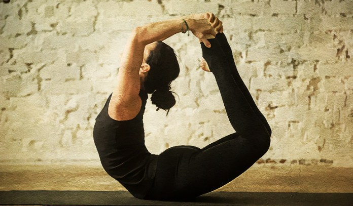 The bow pose relieves anxiety and stress.
