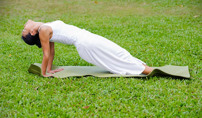 Upward inclined plank pose strengthens the lower back muscles, tones the abdominal muscles.