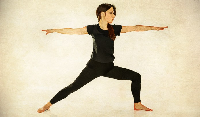 The warrior pose tones up the arms and legs, boosts stamina, and improves balance.