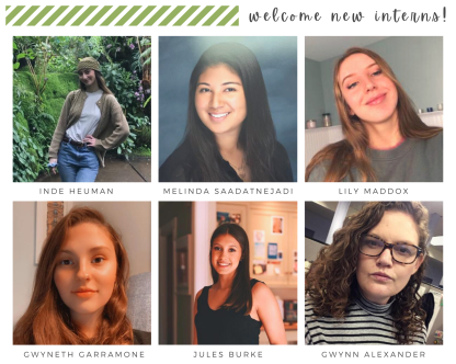 """A collage of our student interns under text reading """"welcome new interns!"""""""