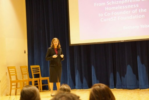 A photo of Bethany speaking at the event