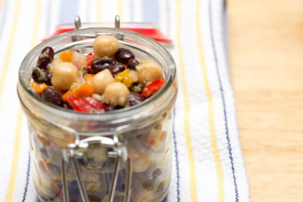 bean salad in a mason jar