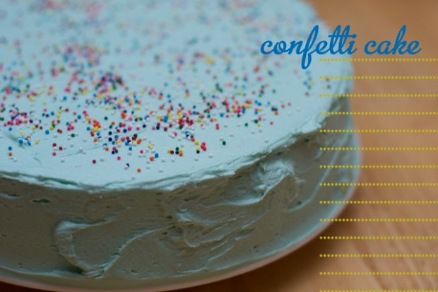 gluten free confetti cake with blue frosting