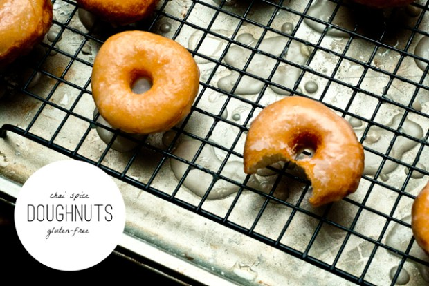 Chai Spice Gluten Free Doughnuts on cooling rack