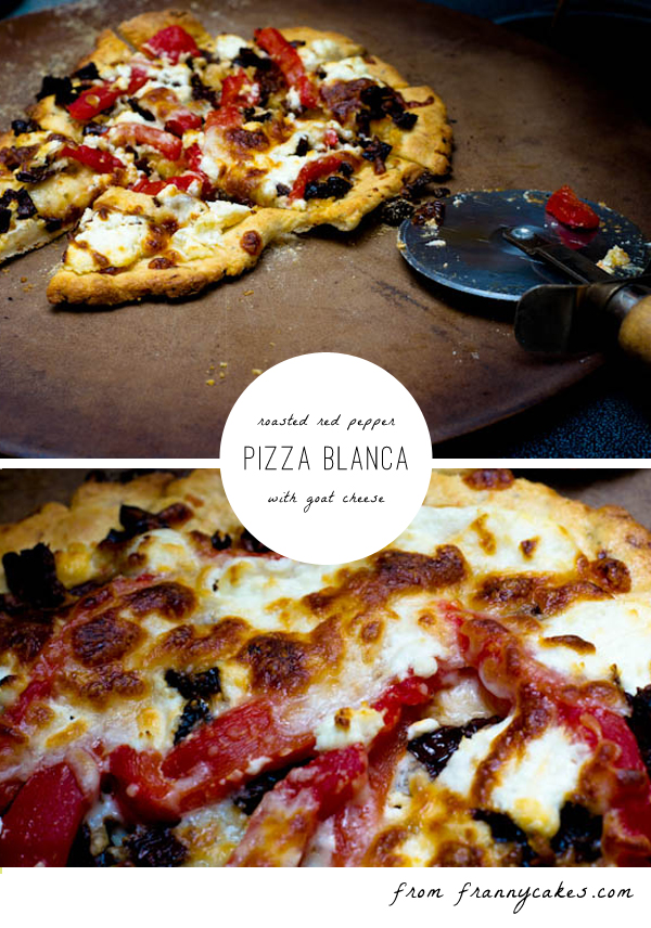 gluten-free pizza blanca with roasted red peppers and chevre frais