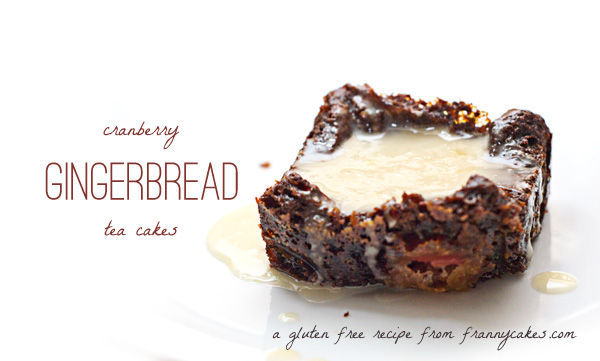 gluten free cranberry gingerbread tea cakes with an orange glaze