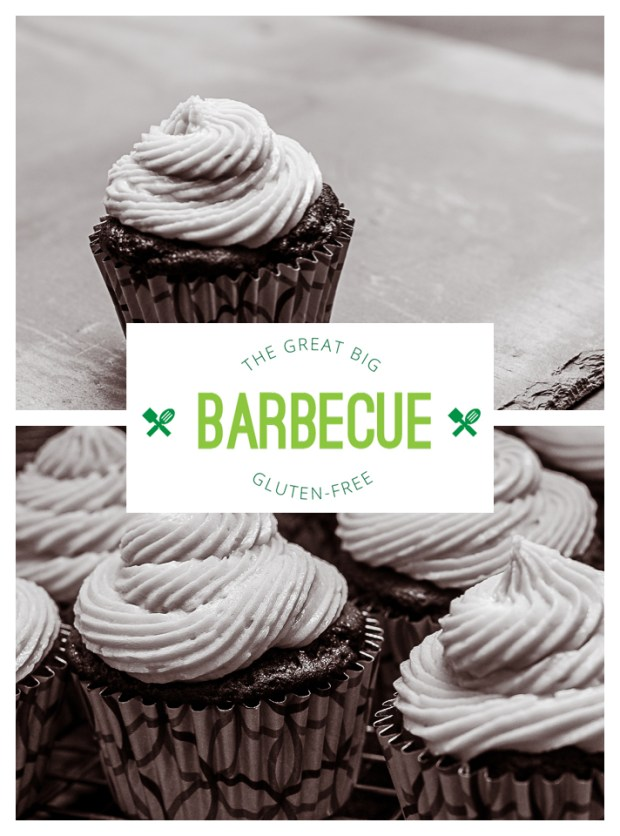gluten free chocolate cupcakes with vanilla buttercream for the Great big Gluten Free Barbecue