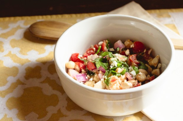 Creamy Summer Chickpea Salad with feta, tomatoes, onion, lemon juice, olive oil and fresh herbs
