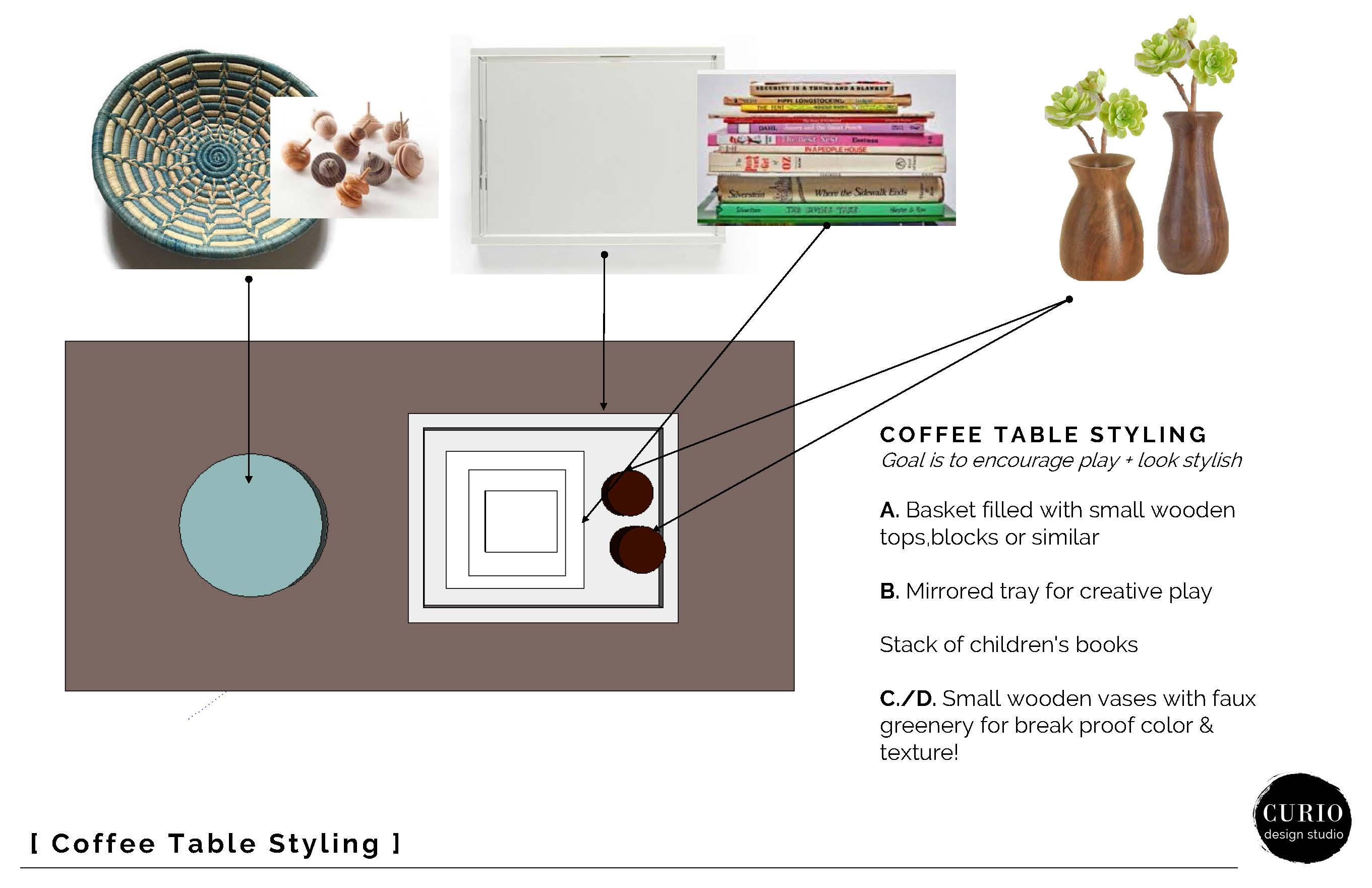 kid friendly coffee table styling